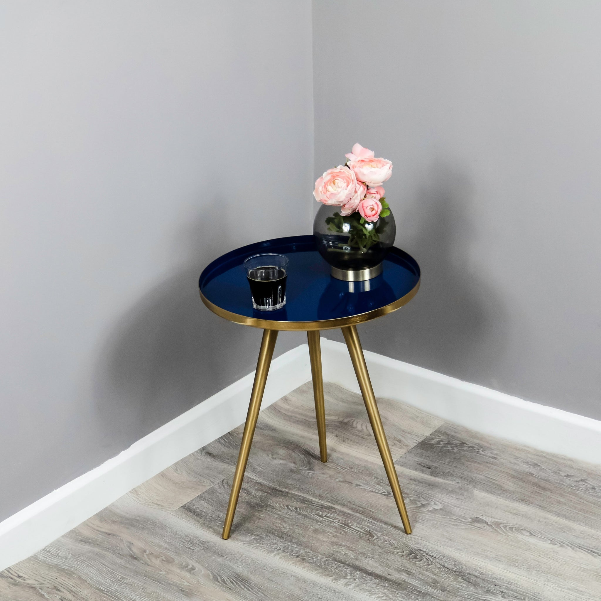 Side Table Blue Enamel Tray - The Quirky Home Co