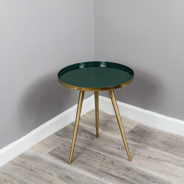 Side Table Green Enamel Tray - The Quirky Home Co