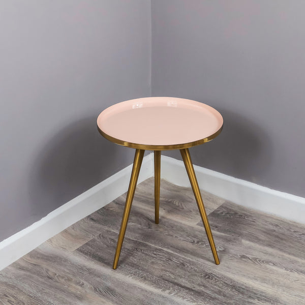 Side Table Pink Enamel Tray - The Quirky Home Co