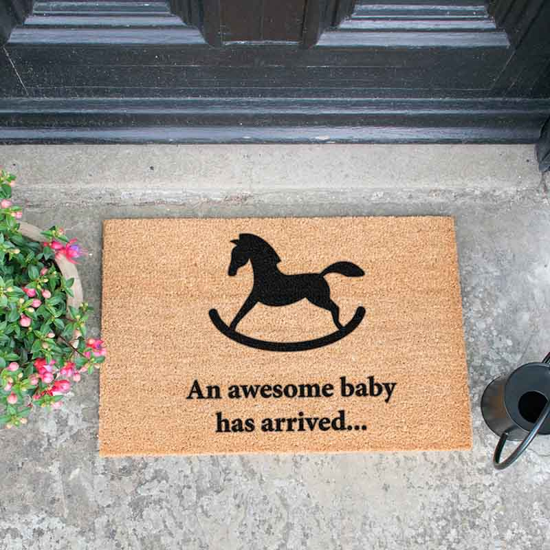 Awesome Baby Has Arrived Rocking Horse Doormat - The Quirky Home Co