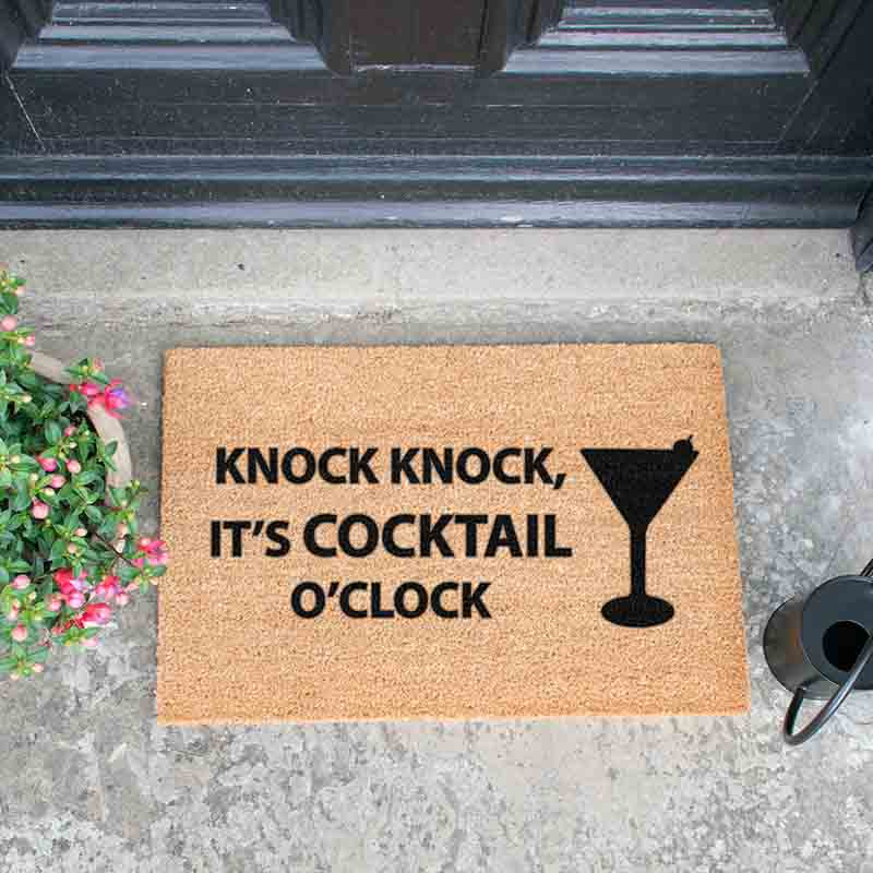 Knock Knock It's Cocktail O'Clock Doormat - The Quirky Home Co