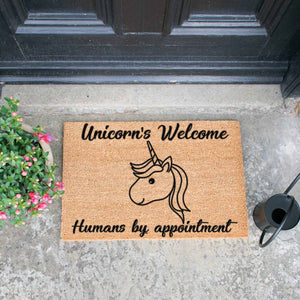 Unicorns Welcome, Humans By Appointment Doormat - The Quirky Home Co
