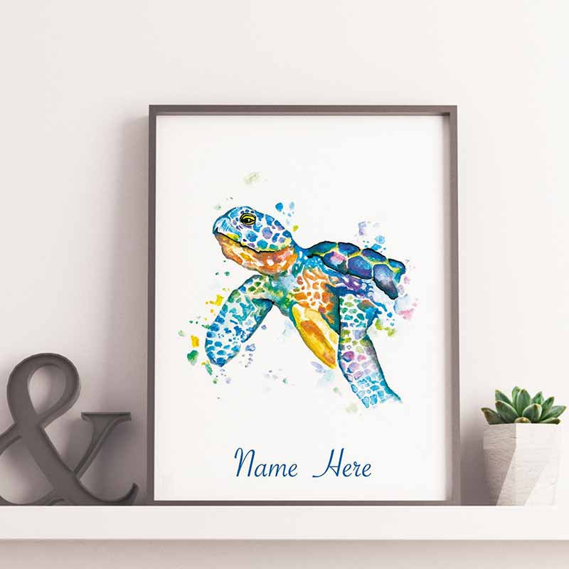 Turtle Personalilsed Name Wall Art - The Quirky Home Co