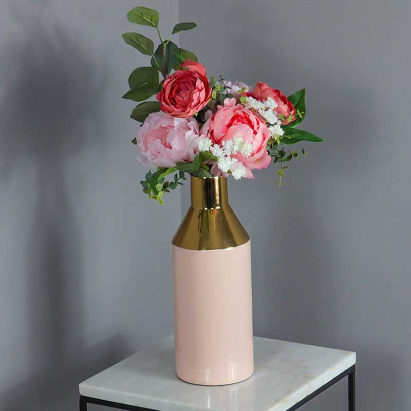 Gold Stem Pink Vase - The Quirky Home Co