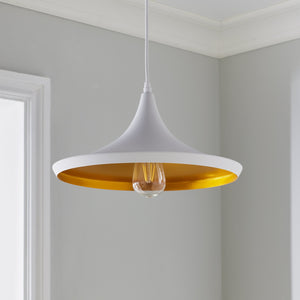 White and Gold Over-Table Pendant - The Quirky Home Co