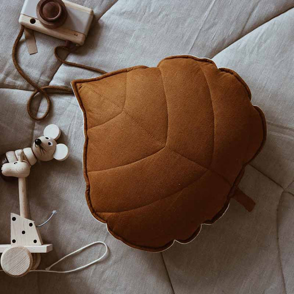 Caramel Linen Leaf Cushion - The Quirky Home Co