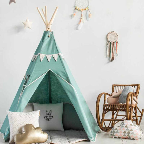 Mint Love Linen Teepee Tent With Garland - The Quirky Home Co