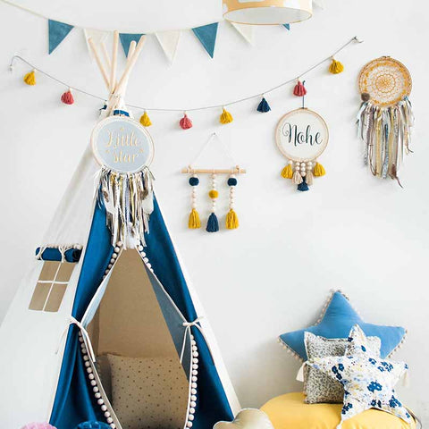 Jean Teepee Tent With Pom Poms - The Quirky Home Co