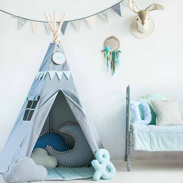 Mint Love Teepee Tent With Garland - The Quirky Home Co