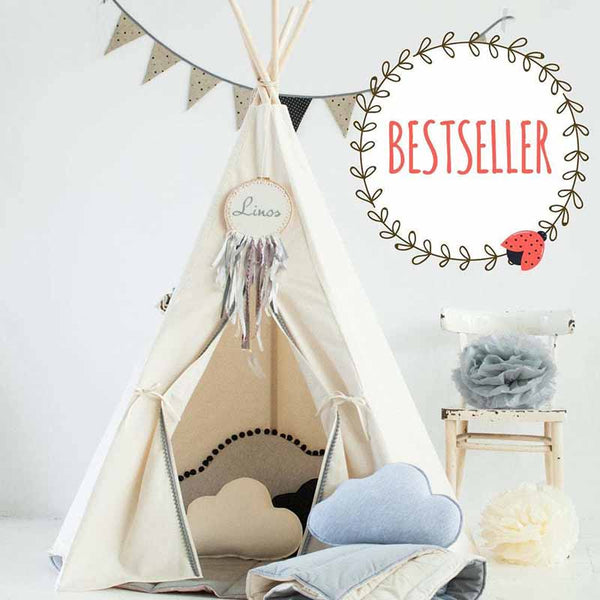 Beige Teepee Tent With Grey Pom Poms - The Quirky Home Co