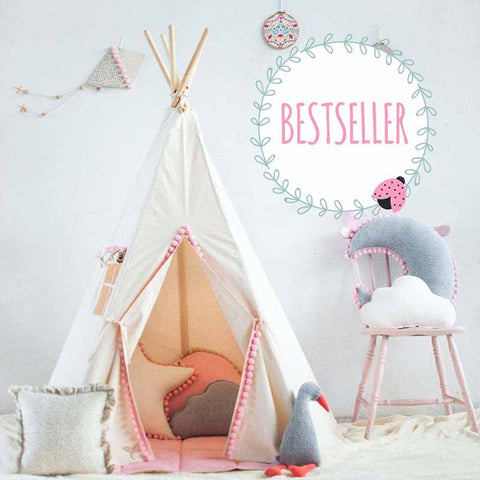 Beige Teepee Tent With Pink Pom Poms - The Quirky Home Co