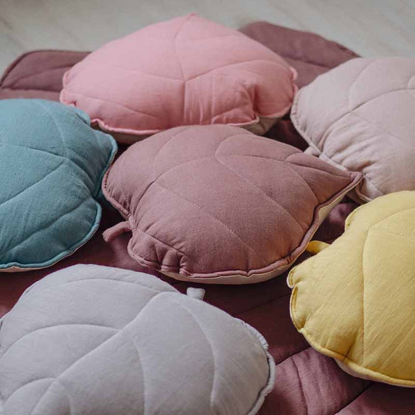 Dirty Pink Linen Leaf Cushion - The Quirky Home Co