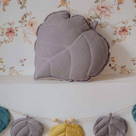 Grey Linen Leaf Cushion - The Quirky Home Co