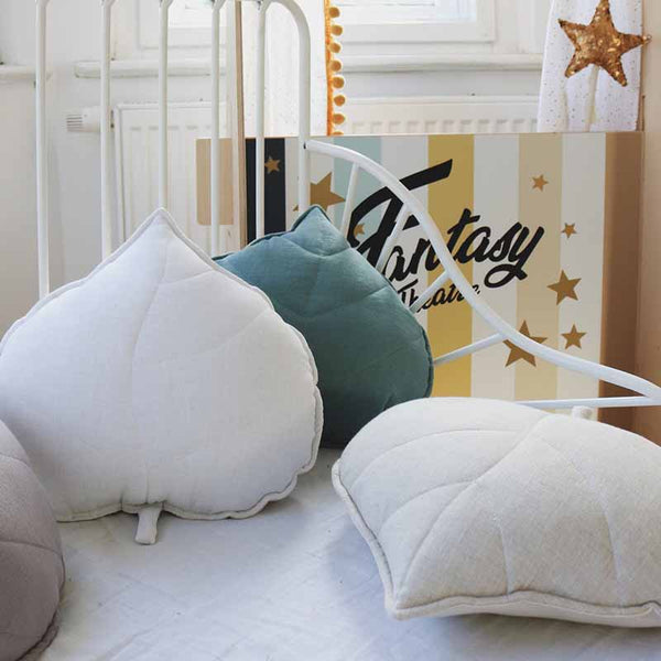 Sand Linen Leaf Cushion - The Quirky Home Co