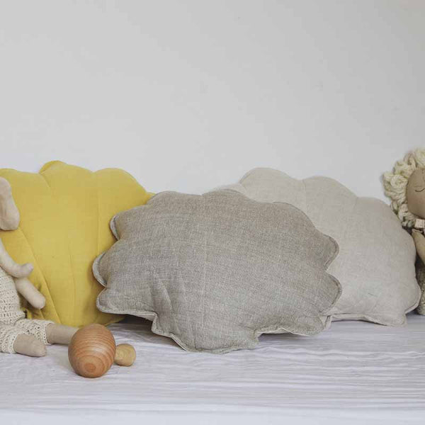 Sand Linen Shell Cushion - The Quirky Home Co