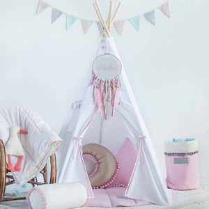 Snow White Teepee Tent With Pom Poms - The Quirky Home Co