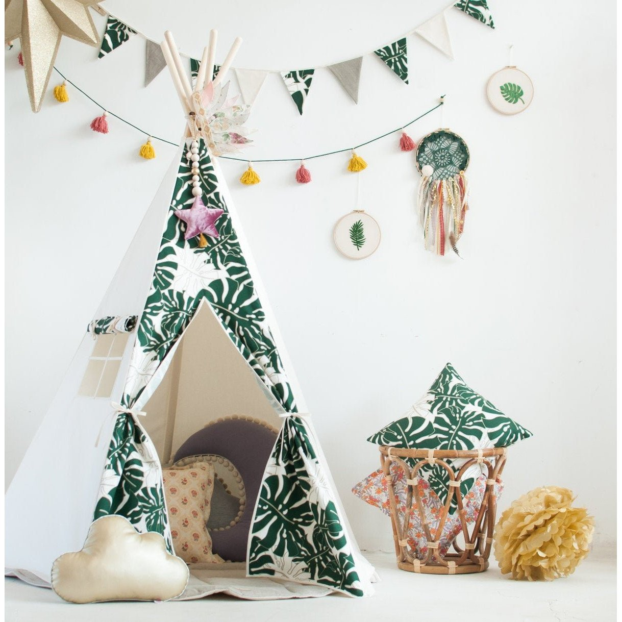 Green Leaves Teepee Tent - The Quirky Home Co