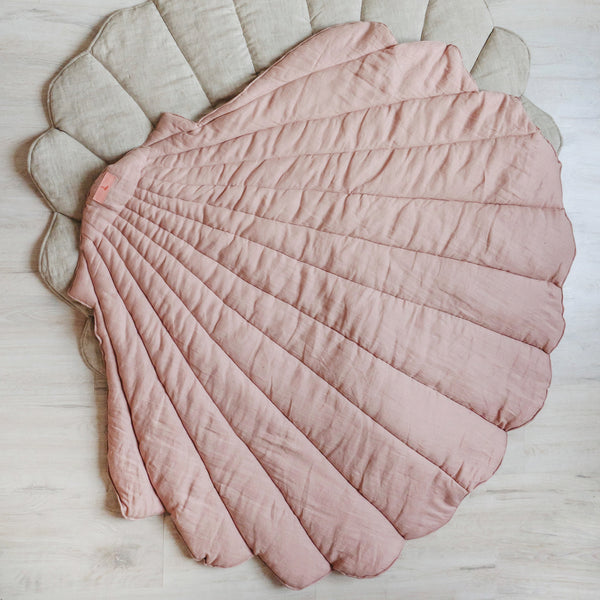 Powder Pink Linen Sea Shell Mat - The Quirky Home Co