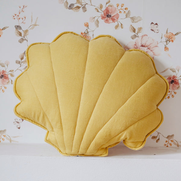 Honey Linen Shell Cushion - The Quirky Home Co