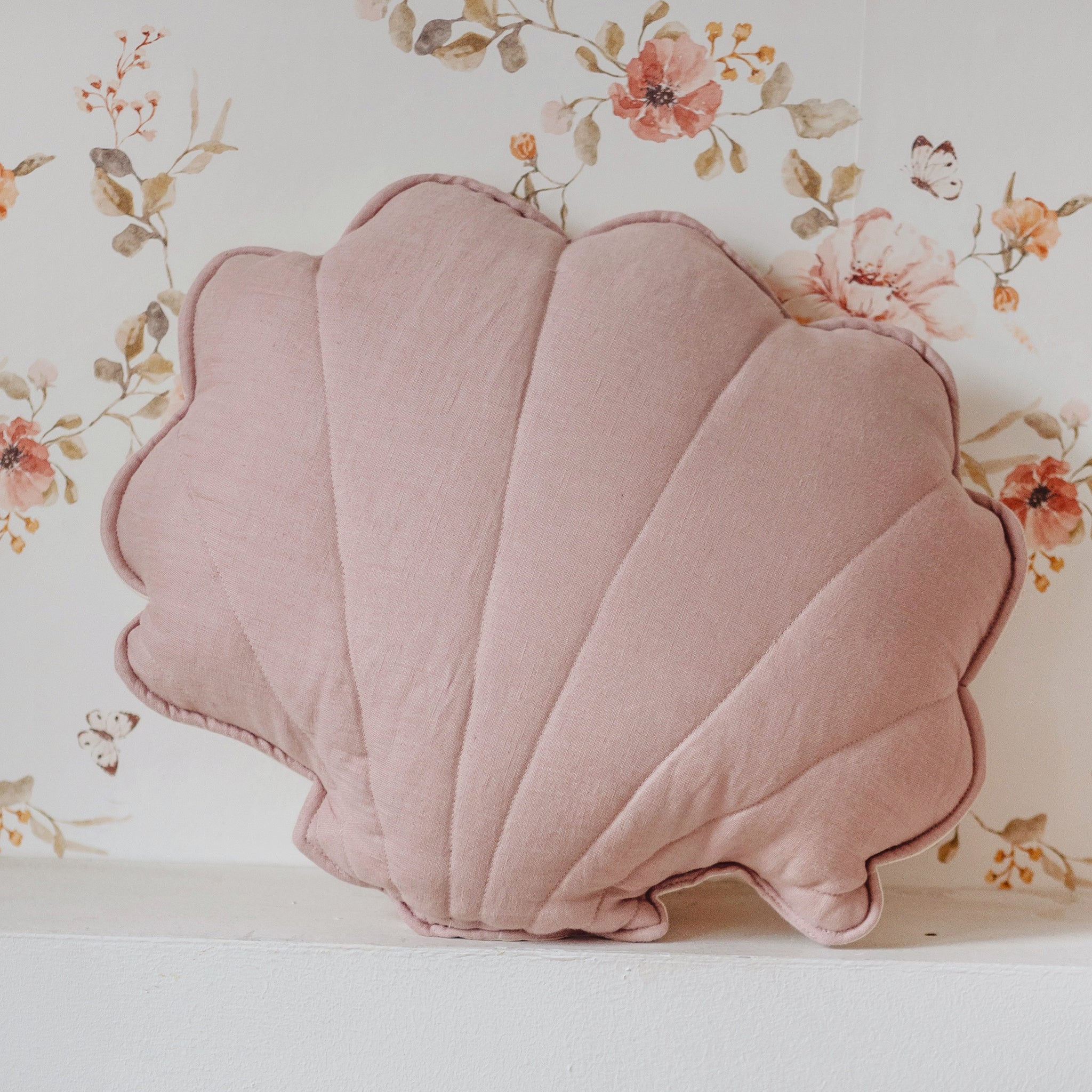 Powder Pink Linen Shell Cushion - The Quirky Home Co