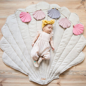 Sand Linen Sea Shell Mat - The Quirky Home Co