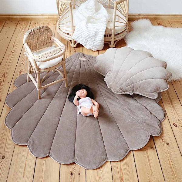 Dark Beige Velvet Sea Shell Mat - The Quirky Home Co