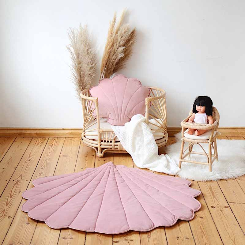 Soft Pink Velvet Sea Shell Mat - The Quirky Home Co