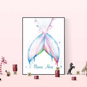 Mermaid  Personalilsed Name Wall Art - The Quirky Home Co