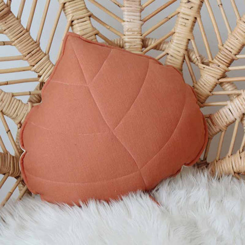 Papaya Linen Leaf Cushion