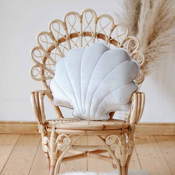 Silver Pearl Velvet Shell Cushion - The Quirky Home Co