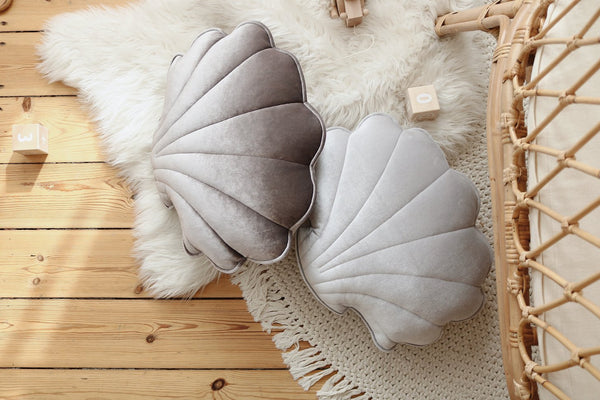 Grey Pearl Velvet Shell Cushion