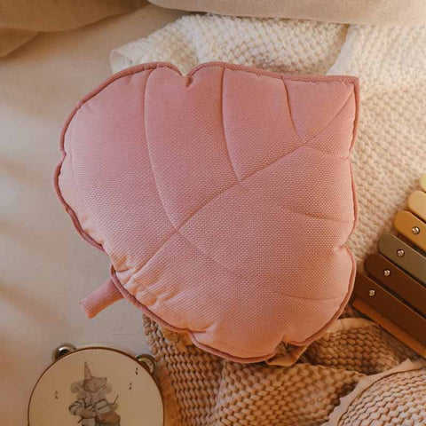 Soft Pink Velvet Leaf Cushion