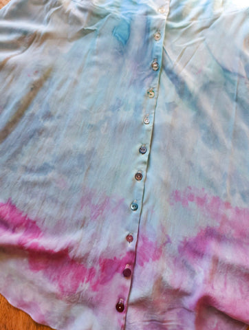 Image of pink and blue ice dye dress with different colour buttons