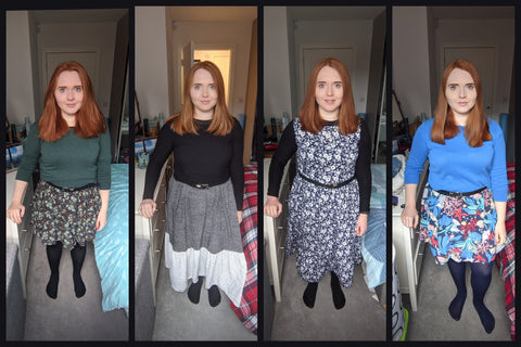 Collage of 4 images of Yvette, a white woman with ginger hair wearing different dresses with jumpers layered over