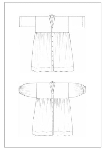 Line drawing of a smock style dress pattern