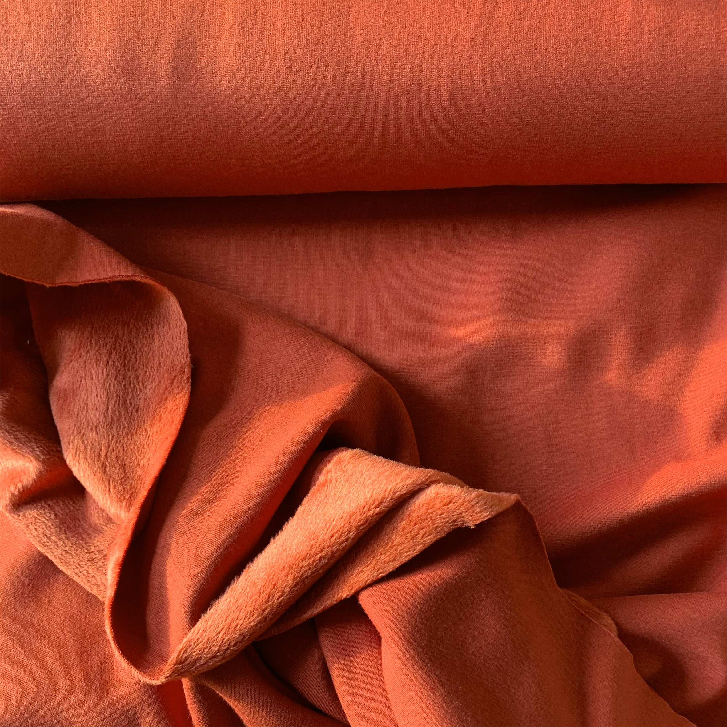 BRUSHED BACK ALPINE FLEECE SWEATSHIRT FABRIC IN RUST