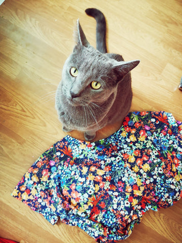 Image of floral dress with a grey coloured cat sitting beside it