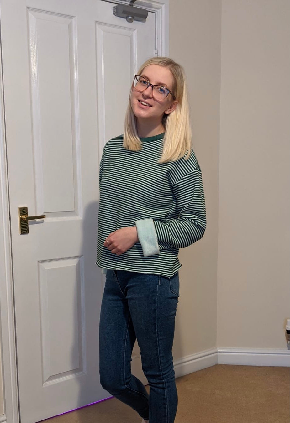 SG SEWS WEARS TILLY AND THE BUTTONS NORA IN STRIPED GREEN SWEATSHIRT FABRIC