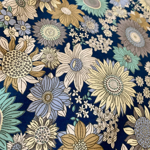 VINTAGE FLORAL BLUE COTTON POPLIN
