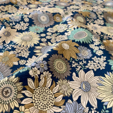 Load image into Gallery viewer, VINTAGE FLORAL BLUE COTTON POPLIN REMNANT 110CM X 55CM