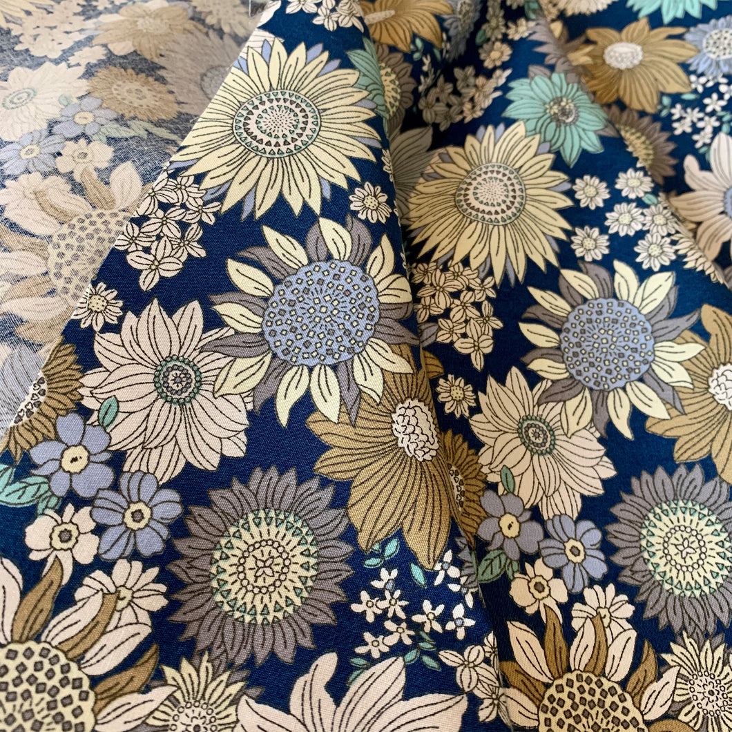 NAVY BLUE FLORAL COTTON POPLIN ROSE & HUBBLE