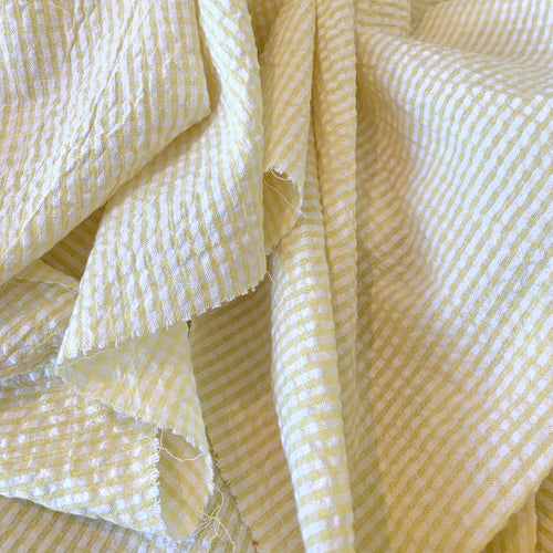 YELLOW AND WHITE COTTON SEERSUCKER FABRIC