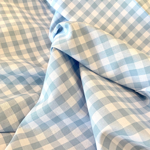 LIGHT BLUE COTTON GINGHAM FABRIC 1/3