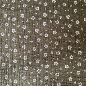 OLIVE GREEN DOUBLE GAUZE WITH FLOWER PRINT