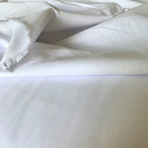 WHITE LINEN LOOK COTTON FABRIC
