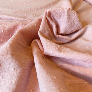 PINK COTTON DOBBY FABRIC WITH SPOT CRINKLE