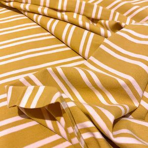 OCHRE YELLOW AND CREAM STRIPED COTTON JERSEY FABRIC