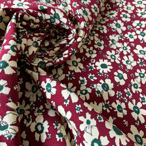 WINE RED FLORAL NEEDLECORD CORDUROY FABRIC