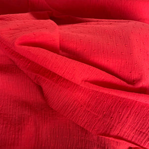 RED COTTON DOBBY WITH SPOT REMNANT 89CM X 135CM