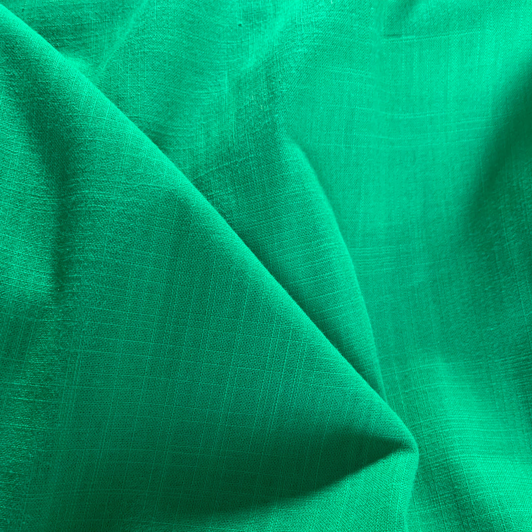 EMERALD GREEN LINEN LOOK COTTON FABRIC